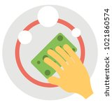 flat icon of a hand washing... | Shutterstock .eps vector #1021860574