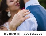 close up of female hand with a... | Shutterstock . vector #1021862803