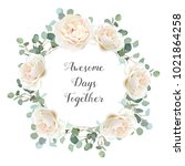 creamy white roses and silver... | Shutterstock .eps vector #1021864258