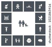 set of 13 editable family icons....