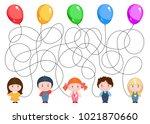 five children hold balloons.... | Shutterstock .eps vector #1021870660
