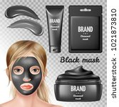 cosmetic ads elements  charcoal ... | Shutterstock .eps vector #1021873810