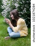 beautiful teenager girl with... | Shutterstock . vector #1021874284