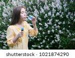 beautiful teenager girl and... | Shutterstock . vector #1021874290
