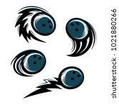 bowling  swoosh set of 4 logo   Shutterstock .eps vector #1021880266