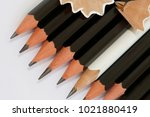 white pencil in a group of... | Shutterstock . vector #1021880419