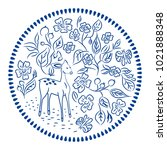 flowers and deer plate round... | Shutterstock .eps vector #1021888348