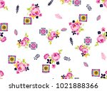 abstract colorful roses flowers ... | Shutterstock .eps vector #1021888366
