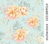 blush pink bouquets on the mint ... | Shutterstock .eps vector #1021889014