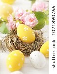 colorful easter eggs and spring ... | Shutterstock . vector #1021890766