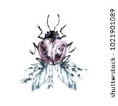 watercolor beetle with floral... | Shutterstock . vector #1021901089