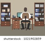 workplace of office worker. the ...   Shutterstock .eps vector #1021902859