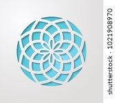 round ornamental 3d cutout...   Shutterstock .eps vector #1021908970