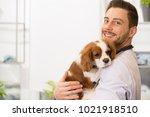 horizontal shot of a handsome... | Shutterstock . vector #1021918510