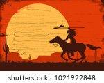 silhouette of native american... | Shutterstock .eps vector #1021922848
