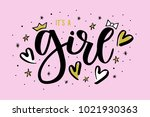 it's a girl hand drawn design... | Shutterstock .eps vector #1021930363
