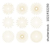 golden vintage sunburst design... | Shutterstock .eps vector #1021932250