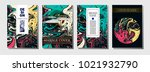 cool fluid paint cover template.... | Shutterstock .eps vector #1021932790