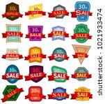 set of twenty discount stickers.... | Shutterstock . vector #1021933474