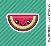 cute kawaii smiling watermelon...   Shutterstock .eps vector #1021940710