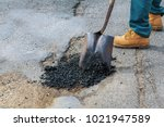 road construction. new asphalt... | Shutterstock . vector #1021947589