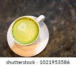 green tea latte in valentine... | Shutterstock . vector #1021953586