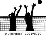 volleyball two women and ball... | Shutterstock .eps vector #102195790