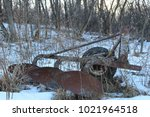 weather beaten field plow being ...   Shutterstock . vector #1021964518