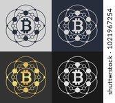 set of bitcoin symbol templates.... | Shutterstock .eps vector #1021967254