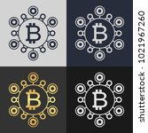 set of bitcoin symbol templates.... | Shutterstock .eps vector #1021967260