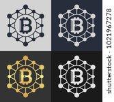 set of bitcoin symbol templates.... | Shutterstock .eps vector #1021967278