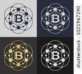 set of bitcoin symbol templates.... | Shutterstock .eps vector #1021967290