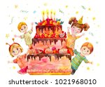 children's party at the... | Shutterstock . vector #1021968010