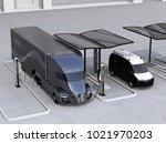electric truck and van charging ... | Shutterstock . vector #1021970203