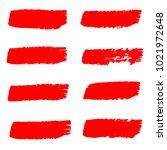 set of hand painted red brush... | Shutterstock .eps vector #1021972648