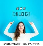 checklist with young woman... | Shutterstock . vector #1021974946