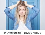 crazy overworked female... | Shutterstock . vector #1021975879