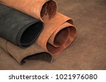 rolls of natural brown and... | Shutterstock . vector #1021976080