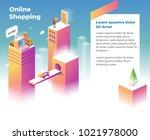 online shopping landing page... | Shutterstock .eps vector #1021978000