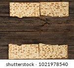 four pieces of matzah or matza... | Shutterstock . vector #1021978540
