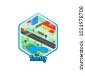 big city isometric real estate...   Shutterstock .eps vector #1021978708
