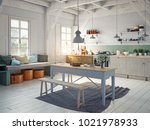 Vintage Style Kitchen Interior. ...
