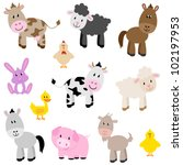 Stock vector vector set of cute farm animals 102197953