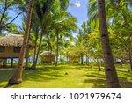 bungalow on sangat island ... | Shutterstock . vector #1021979674
