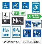 restroom signs for disabled...   Shutterstock .eps vector #1021981300