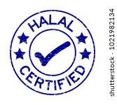 grunge blue halal certified... | Shutterstock .eps vector #1021982134