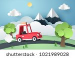 paper art of red car move along ... | Shutterstock .eps vector #1021989028