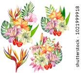 set of tropical bouquet.... | Shutterstock . vector #1021999918