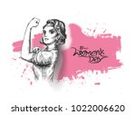 fitness women show her power  ... | Shutterstock .eps vector #1022006620