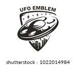 ufo flies in the sky above the... | Shutterstock .eps vector #1022014984